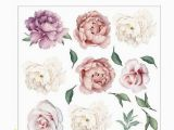 Pink Rose Wall Mural Peony Rose Flowers Wall Sticker Vintage Lilac Peony Wall Stickers Room Decals Mural Home Decor Kids Room Girls Gift Flower Wall Sticker Flower Wall