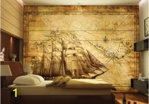 Pirate Map Wall Mural 3d Wall Mural Map Pirate Ship Treasure Map by Daculjashop On