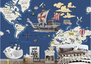 Pirate Map Wall Mural World Animal Treasure Map Nautical Wind Children S Room Background Wall Custom Mural Green Wallpaper Any Size Wallpapers High Resolution