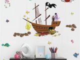 Pirate Ship Full Wall Mural Buckoo Ocean Animal Wall Decal Pirate Ship Wall Decal Nautical themed Party Decoration Nursery Baby Playroom Room Decor