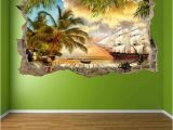 Pirate Ship Full Wall Mural Pirate Ship Treasure island Wall Art Sticker Mural Decal