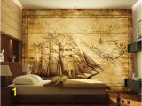 Pirate Ship Wall Mural 3d Wall Mural Map Pirate Ship Treasure Map by Daculjashop On