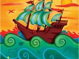 Pirate Ship Wall Mural Pirate Ship Canvas Reproduction Boys Room In 2019
