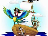 Pirate Ship Wall Murals Pappagallo Su Nave Pirata Cartoon Pirate Macaw Parrot On Ship Wall