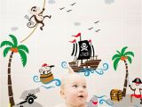 Pirate themed Wall Murals Pirates Vinyl Wall Decal with Captain Jack Ship Coconut Tree Cloud Monkeys