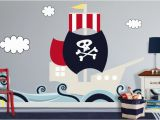 Pirate themed Wall Murals the Stripe Basket and Furniture for Kids Pirate Room