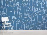 Pirate Wall Murals Uk Blue Face Line Drawing Wallpaper Mural
