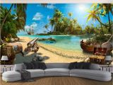 Pirate Wallpaper Murals Us $9 3 Off Beibehang Wallpaper Pirate Ship island Landscape Murals 3d Tv Background Wall Paper Home Decor Living Room Bedroom 3d Wallpaper In