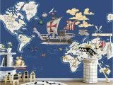Pirate Wallpaper Murals Us $9 45 Off Beibehang Wallpaper Mural Hand Drawn Pirate Ship Map Cartoon Children Room Mural Decoration Background 3d Wallpaper Papier Peint In