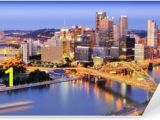 Pittsburgh Skyline Wall Mural City Skyline at Night Detroit Michigan Wall Mural • Pixers • We
