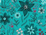 Pixers Wall Murals Reviews Floral Seamless Pattern On Turquoise Background Wall Mural Vinyl