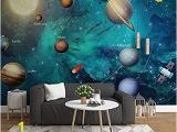 Planet Earth Wall Mural Fslucky Cartoon Universe Planet Room Kids 3d Wallpaper Boy