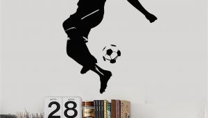 Play Ball Wall Mural Vinyl Wall Decal soccer Player Ball Boys Room Sports