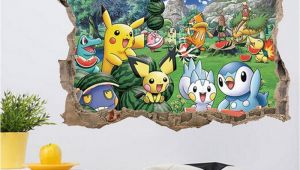 Pokemon Wall Mural Uk Removable Kids Bedroom Decor 3d Pokemon Wall Stickers Adhesive