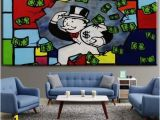 Pop Art Wall Mural 2019 Alec Monopoly High Quality Handpainted & Hd Print Graffiti Pop Art Oil Painting Running Home Decor Wall Art Canvas Multi Sizes G114 From