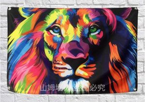 Pop Art Wall Mural Großhandel Tier Lion Flag Banner Pop Art Malerei Home Dekoration Hängen Flagge 4 Gromments In Ecken 3 5ft 144 Cm 96 Cm Von Ssp686 $6 5 Auf