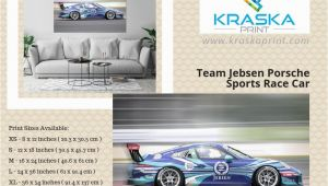 Porsche Wall Mural Team Jebsen Porsche Sports Race Car Art Print Wall Decor Poster
