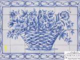 Portuguese Tile Murals Blue Flower Basket Hand Painted Ceramic Tile Mural Backsplash