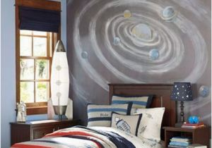 Pottery Barn Teen Wall Mural Space themed Room Decor Ideas Kids toddler Teen Outer Galaxies