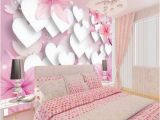 Princess Canopy Wall Mural 3d Romantic White Hearts Pink Background Design Wallpaper