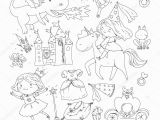 Princess Carriage Coloring Page Coloring Page for Book Cute Little Princess with Unicorn
