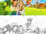 Princess In A Castle Coloring Pages Cartoon Scene Happy King Od Prince Stock Illustration
