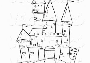 Princess In A Castle Coloring Pages Printable Black and White Art