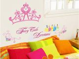 Princess Wall Mural Uk Pink Princess Crown Wall Sticker Girls Room Headboard Wall Mural