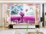 Princess Wall Mural Wallpaper Custom 3d Wallpaper Mural Living Room sofa Tv Backdrop Mural Lavender Balloon Rome Balcony Picture Wallpaper Mural Sticker Home Decor High