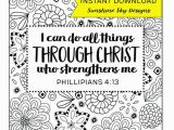 Printable Coloring Pages Religious Items I Can Do All Things Through Christ Printable Coloring Page Instant