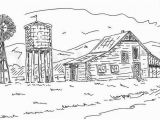 Printable Farm Coloring Pages Custom Barn Drawing House Landscape Farm Gift for Parents