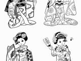 Printable Geisha Coloring Pages Free Coloring Page Coloring Little Japanese Child Style Drawing