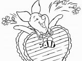 Printable Valentine Coloring Pages Disney Piglet Wearing Valentines Day Chocolate Coloring Page with