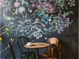 Pro Art Wall Murals Chalk Flower Wall at A Cafe Inspiration Pinterest