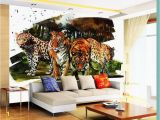Projector for Wall Mural Beibehang Custom 3d Mural Jungle Watercolor Tiger Photo Wall Mural