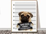 Puppy Dog Wall Murals Pug Print Dog Bad Dog Print Nursery Animal Decor