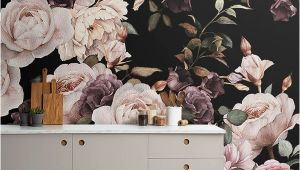 Purple and Pink Dark Floral Wall Mural Purple and Pink Dark Floral Wallpaper Mural