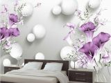 Purple Flower Wall Murals Custom Wallpaper 3d Stereo Circle Ball Purple Calla Flowers