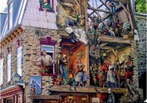 Quebec City Wall Mural Trompe L Oeil Painting Basse Ville Lower town Old Quebec