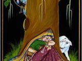 Radha Krishna Wall Murals Krishna Peeping at Radha Nirmal Painting On Wood In 2019