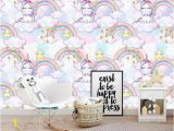 Rainbow Unicorn Wall Mural Custom Papel Pared Infantil Fantasy Rainbow Unicorn Wallpaper Mural for Children Room sofa Tv Background Home Decor Wall High Resolution Wallpapers
