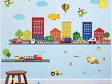 Rainbow Wall Mural Decal Decalmile Construction Kids Wall Stickers Cars Transportation Wall Decals Baby Nursery Childrens Bedroom Living Room Wall Decor