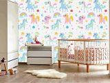 Rainbow Wall Mural Decal Funny Unicorn Happy Unicorn Rainbow Colorful Nursery Wallpaper Art Beautiful Decor Gorgeous Design Wall Mural Vinyl Adhesive Vinyl