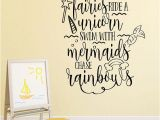 Rainbow Wall Mural Stickers Dance with Fairies Ride A Unicorn Swim with Mermaids Chase Rainbows