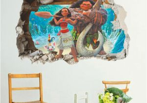 Rapunzel Wall Mural Cartoon Movie Moana Maui Vaiana Wall Sticker for Kids Rooms 3d