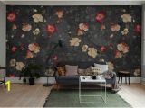 Red and Black Wall Murals Black Red Green Grunge Little Floral Wallpaper Mural