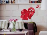Red and Black Wall Murals Fashion 1 Set 3d Mirror Love Hearts Wall Sticker Decal Diy Home Room Bathroom Art Mural Decor Removable Mirror Wall Sticker