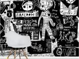 Red and Black Wall Murals Graffiti Black and White