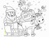 Reindeer Christmas Coloring Pages New 2017 Year Christmas Greeting Card Cute Funny Santa In