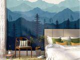 Relaxing Wall Murals Blue Ombré Mountain Mural Wallpaper